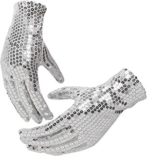 Silver Sequin Dance Gloves;Party Halloween (Adults, Silver Sequin Glove)