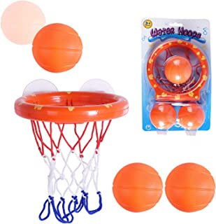 Max Fun Basketball Hoop & Balls Playset Bath Toys for Kids - Suctions Cups Install + 3 Balls Included