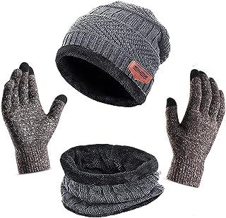 3Pcs Winter Beanie Hat, Warmer Scarf,Touchscreen Gloves Set for Men Women,Warmer Neck Thick Knit Skull Cap