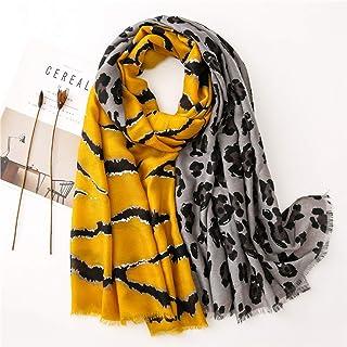 ECSWP KAIDANLE Écharpe de châle de Viscose de Patchwork de léopard de Mode Femmes Haute Hiver Wrap Stole Hijab