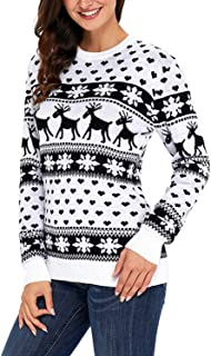 Deer Snow Pattern Patchwork Sweater Christmas Knitting Pullover Casual Knitted Jumpers