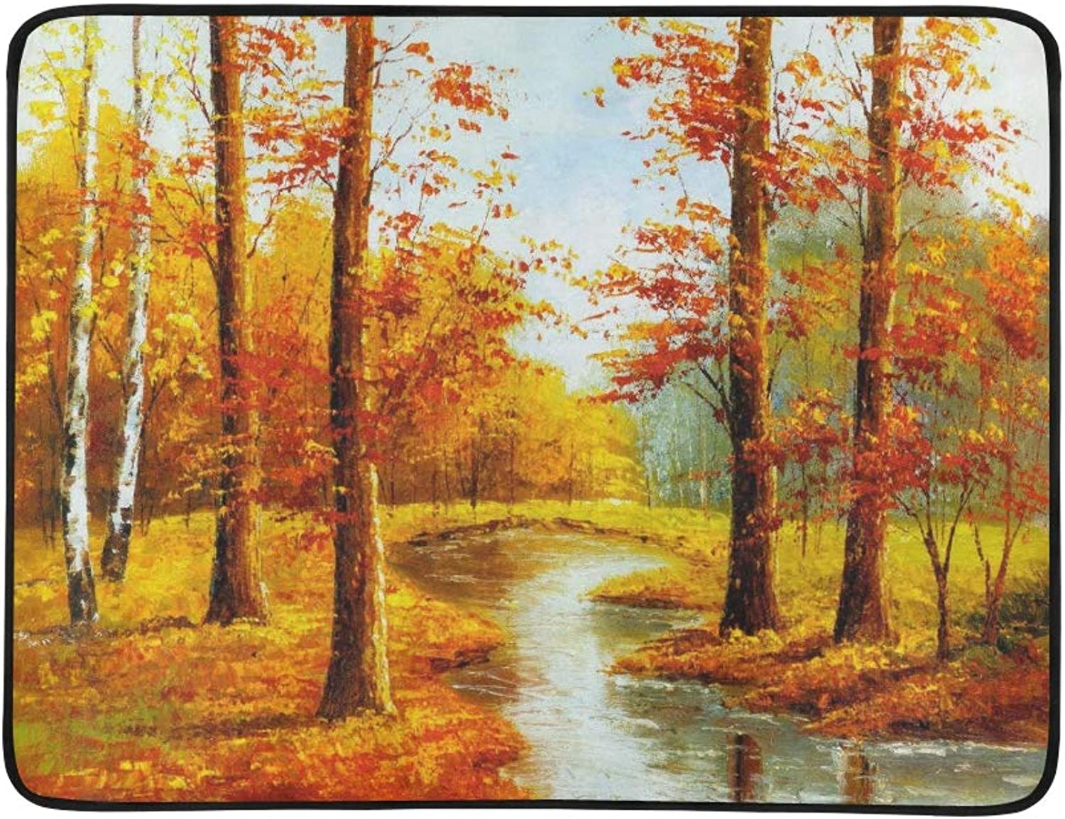 Autumn Landscape Canvas Oil Paintings for Hotel De Pattern Portable and Foldable Blanket Mat 60x78 Inch Handy Mat for Camping Picnic Beach Indoor Outdoor Travel