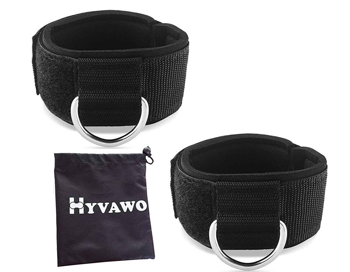 HYVAWO Ankle Strap Neoprene Padded Fitness Wrist Cuff with D Ring High Strength Exercises Belt Gym Pulley Strap for Cable Machines