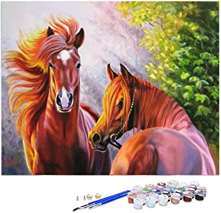 GIEAAO Acrylic Paint by Numbers for Adults Horse, DIY Oil Painting Kit Animal Canvas Pictures Drawing Paintwork with Paint...