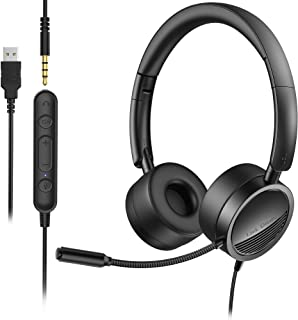 Link Dream USB Headset with Microphone Wired Computer Headset 3.5mm / USB with Noice Cancelling Mic for Computer, Laptop, ...