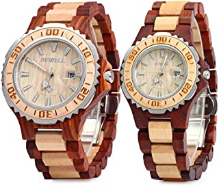ZS-100B Couple Wooden Quartz Watch Men and Women Handmade Lightweight Date Display Fashion Watches