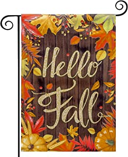 YEAHOME Fall Garden Flag Yard Flag Vertical Double Sided Garden Decoration Hello Fall with Pumpkin Sunflowers for Indoor &...