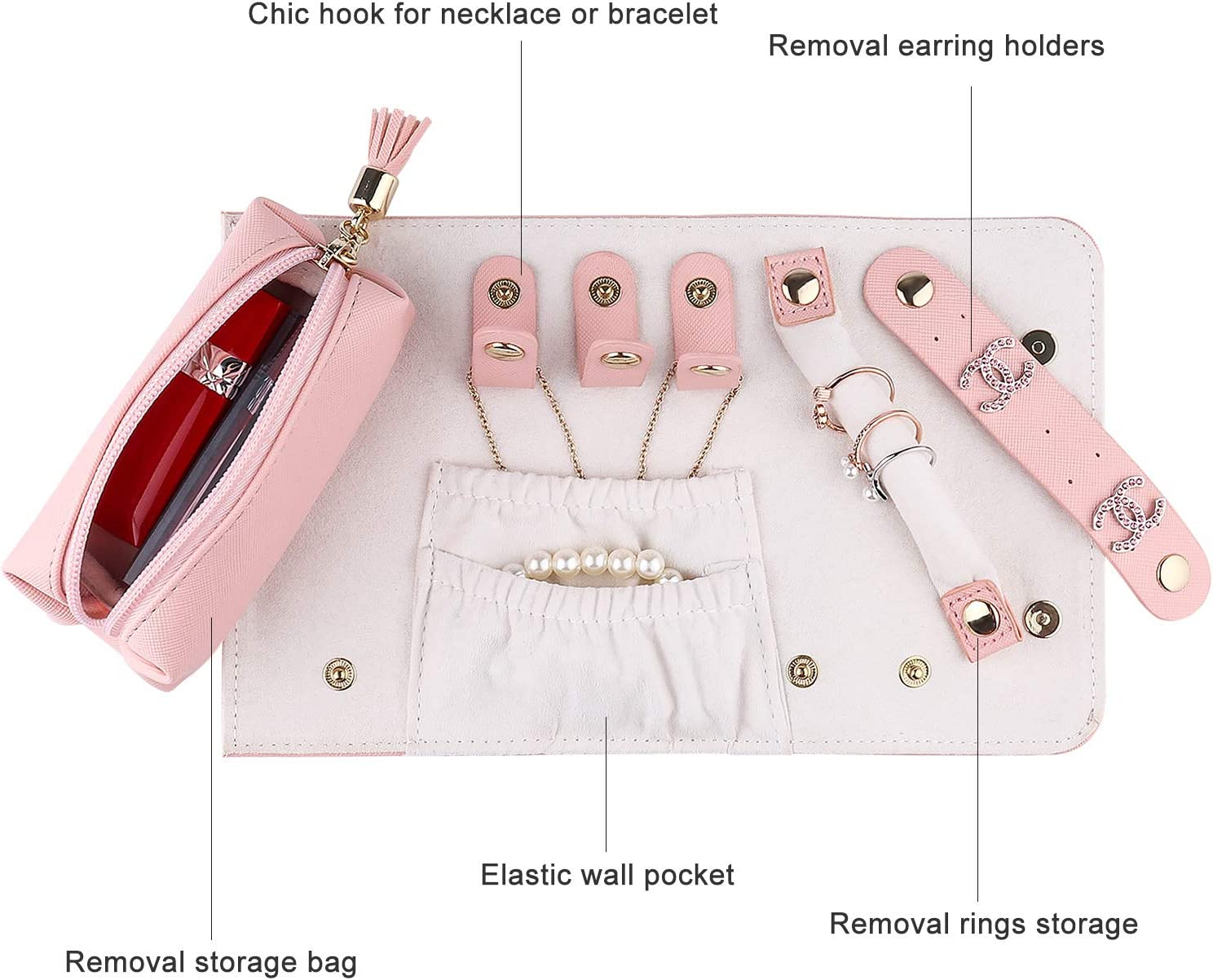 JIDUO Travel Jewelry Organizer Roll Foldable Faux Leather Small Jewelry Case Jewelry Storage Bag for Necklaces Earrings Bracelets Rings Brooches and More Easy to Carry Pink