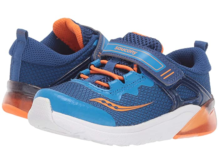 Saucony Kids  Flash Glow Jr (Toddler) (Blue/Orange) Boys Shoes