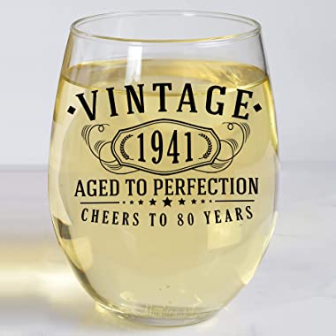 Vintage 1941 Printed 17oz Stemless Wine Glass, 80th Birthday Aged to Perfection, 80 years old gifts