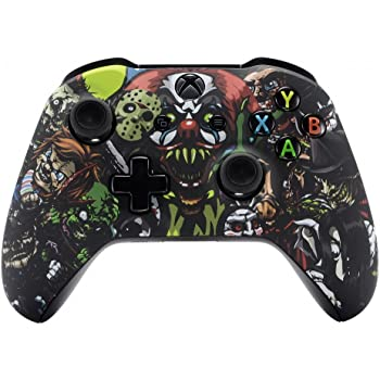 eXtremeRate Soft Touch Scary Party Patterned Faceplate Cover, Front Housing Shell Case Comfortable Replacement Kit for Microsoft Xbox One X & One S Controller - Controller NOT Included