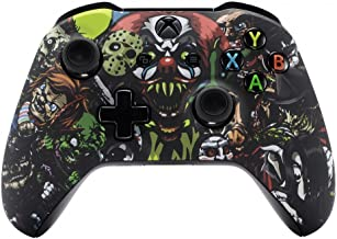 eXtremeRate Soft Touch Patterned Faceplate Cover, Front Housing Shell Case Comfortable Replacement Kit for Microsoft Xbox One X & One S Controller (Scary Party)
