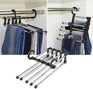 BEYST Stainless Steel Trousers Scarf Pants Rack,5 in 1Tie Multiple Layer Trousers Sliding Rail Closet Rack for Pants Trouser Hangers Hooks Space Saver Storage (1pc)