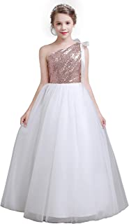 fairy Girl Junior Bridesmaid Dresses Sequines Flower Girl Dresses Tulle for Wedding Party Pageant Aline Floor Length
