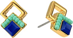 Rebecca Minkoff - Geo Double Drop Square Stud Earrings