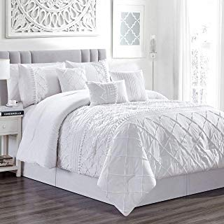 KingLinen 11 Piece Harmony White Bed in a Bag Set Queen