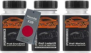 TRISTARcolor Autolack Lackstift Set für Hyundai X2R Red Passion Perl Grundlack Basislack Klarlack je 50ml