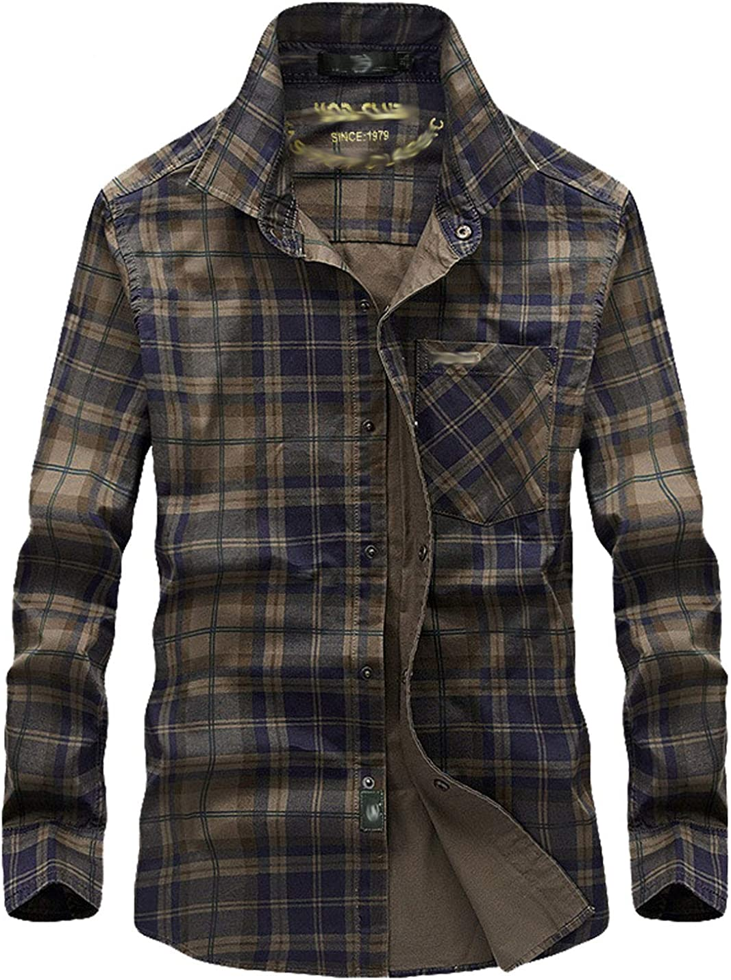 Flygo Mens Casual Outdoor Rugged Sleeve 100% Plaid In a popularity Award-winning store Military Long