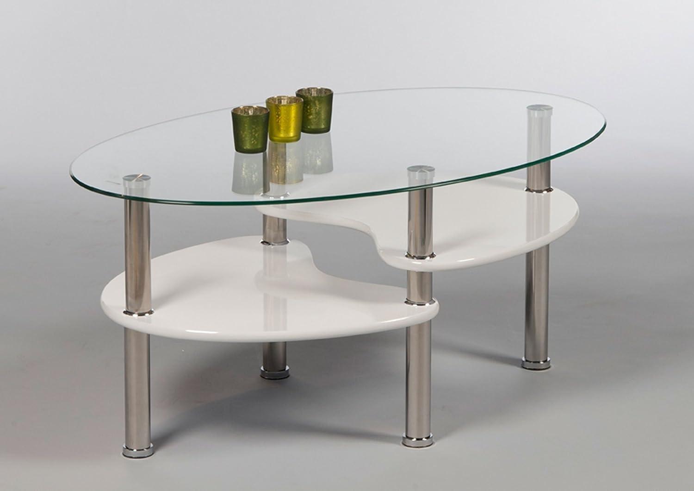 lifestyle12living Couchtisch in Weiß mit Glasplatte und Ablagefach,  Tischbeine aus Edelstahl   Schöner Wohnzimmertisch für gemütliche Wohnzimmer