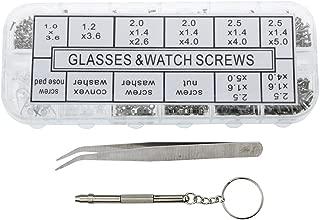 VAPKER 1100 Pcs Eyeglass Repair Kit Eyeglass Sunglass Spectacles Tiny Screws Nuts Washer Assortment Box with 5 Pairs Nose Pads + Tweezer +Micro Screwdriver