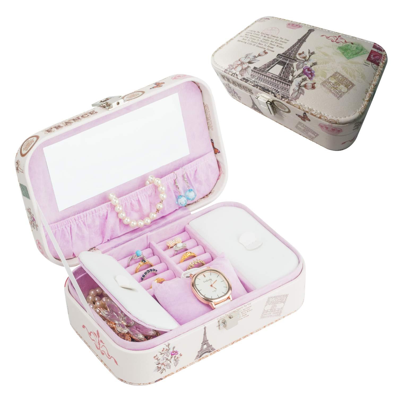 Ilery Eiffel Tower Jewelry Box Organizer Pu Leather Display Storage Case With Lock For