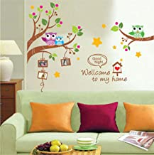 UberLyfe Colourful Owls with Photo Frames Wall Sticker Size 4 (Wall Covering Area: 155cm x 114cm) - WS-000763