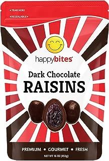 Happy Bites Dark Chocolate Covered Raisins - Dark Chocolate - Resealable Pouch Bag (1 Pound)