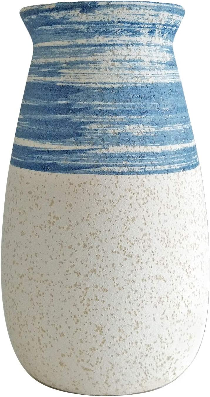 Senliart NEW Clay Vase Blue and Small Flower Cash special price White Artificial