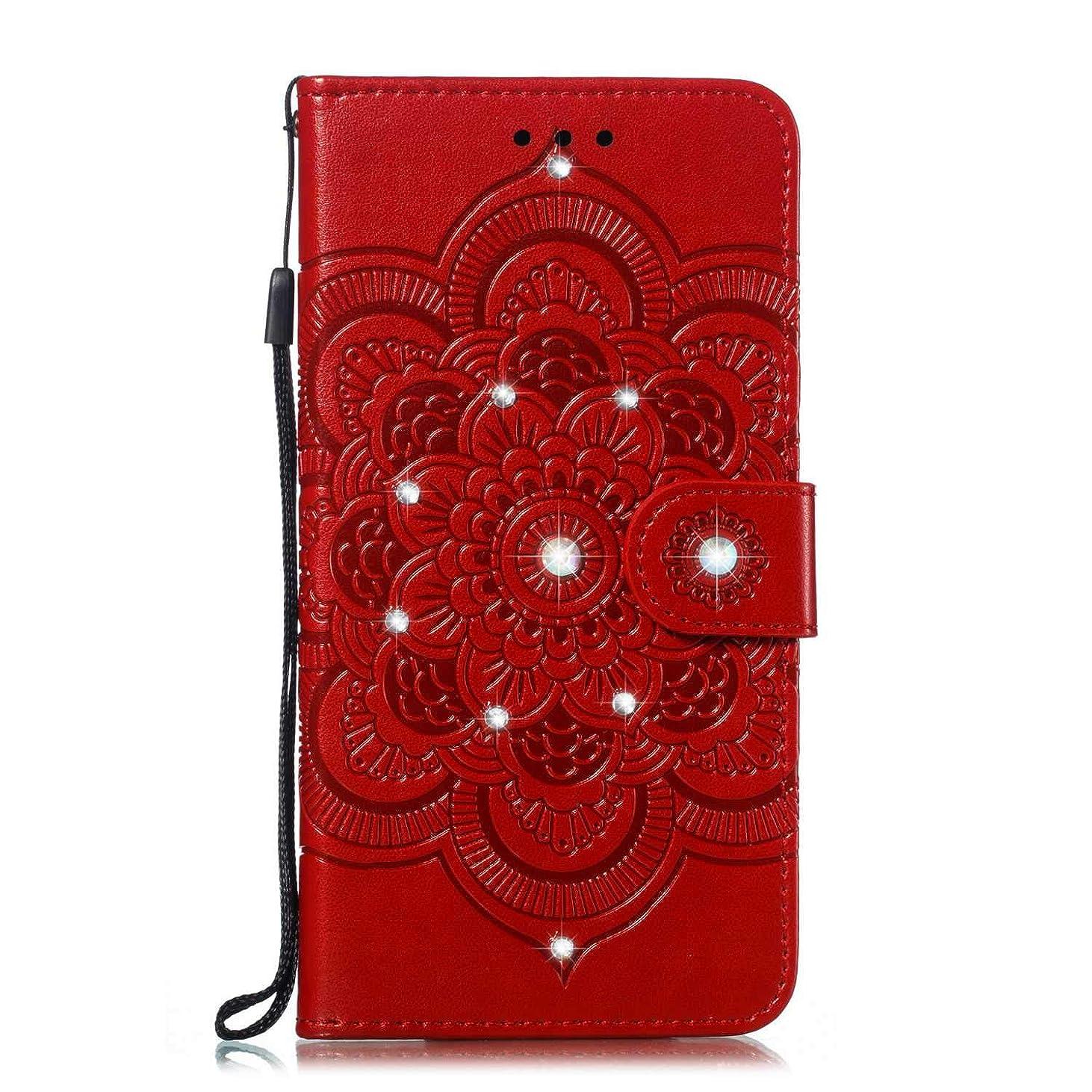 ゴム眠いです独裁者OMATENTI Galaxy J4 2018 ケース 手帳型 かわいい レディース用 合皮PUレザー 財布型 保護ケース ザー カード収納 スタンド 機能 マグネット 人気 高品質 ダイヤモンドの輝き マンダラのエンボス加工 ケース, 赤
