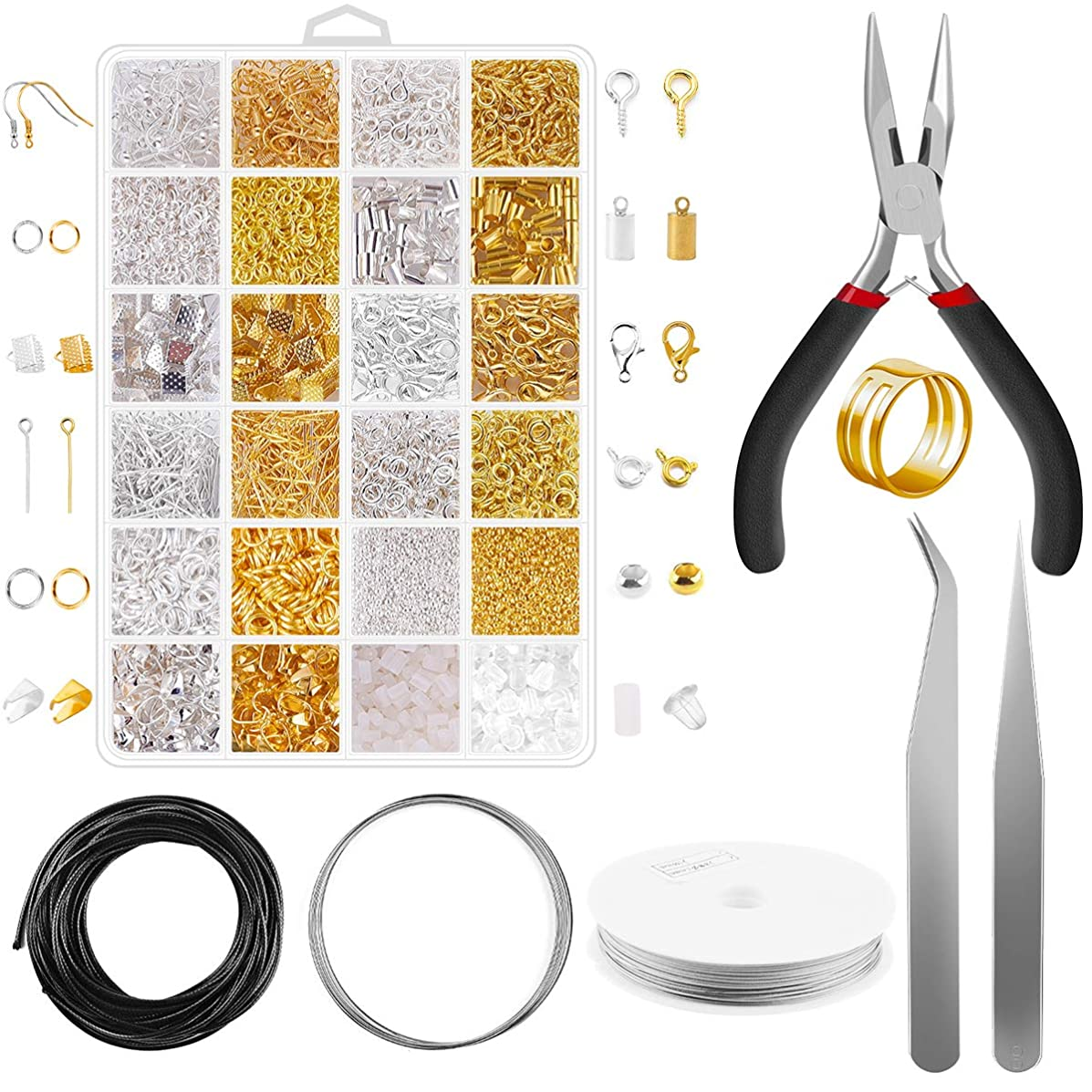 Jewelry Making Supplies - 2080Pcs Jewelry Findings Kit Supplies Rings Pins Bails Crimp Beads and Pliers Tools for Girl and Adults DIY Making