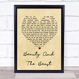 123 BiiUYOO Beauty and The Beast Vintage Heart Song Lyric Quote Print Wall Art Home Decor Graduation Gift Framed 14x11in