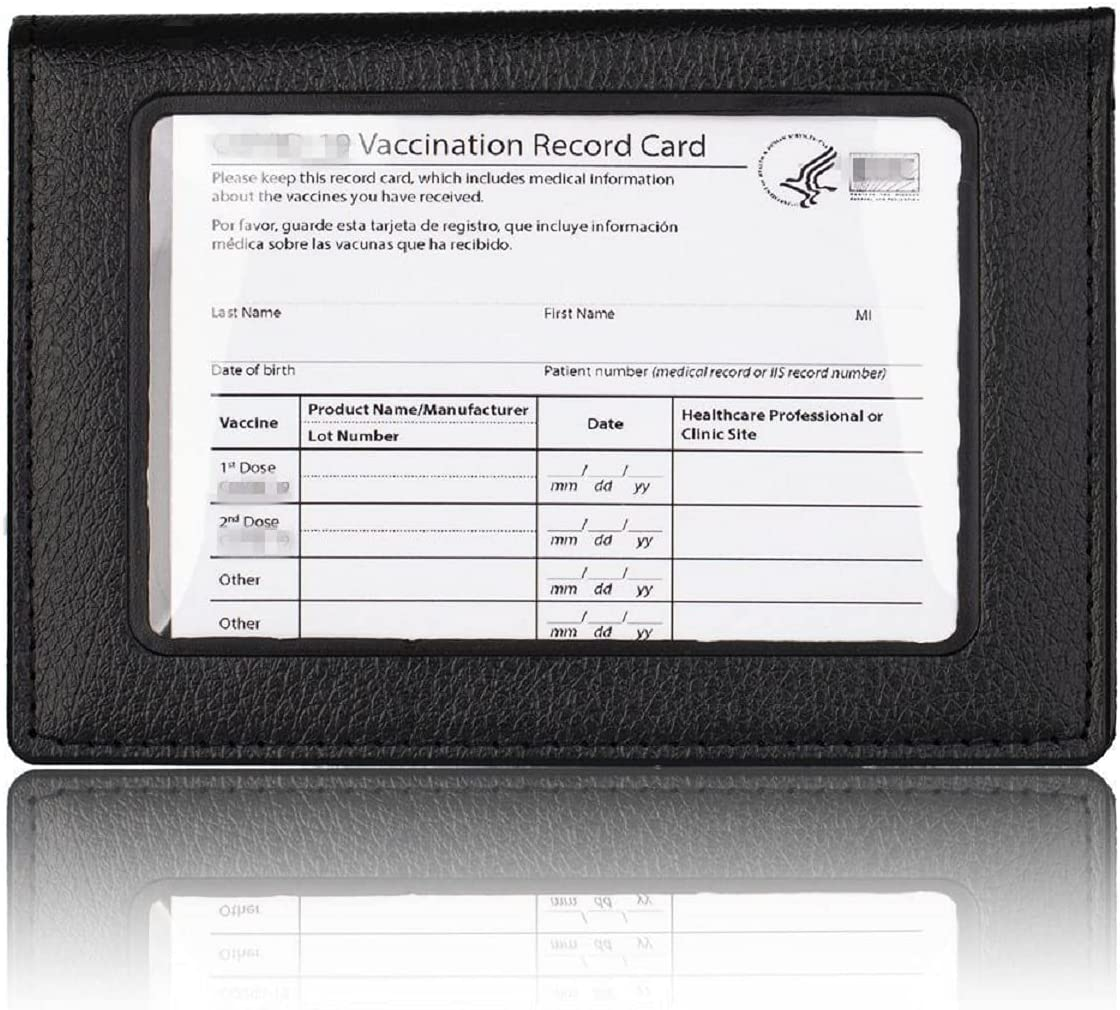PU Leather Vaccine Card Case Protector with Transparent Clear Window, CDC Vaccination Card Protector 4 X 3 Inches, Immunization Record Vaccine Cards Holder