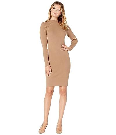 LAUREN Ralph Lauren Cotton-Blend Sweater Dress (Classic Camel) Women