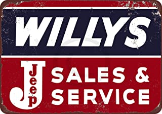 Fireworksss Willys Jeep Sales and Service Vintage Look Reproduction Metal Sign 8 x 12