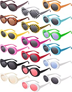e19323b3ef Blulu 18 Pairs Retro Clout Oval Goggles Mod Thick Frame Punk Round Lens  Sunglasses 18 Colors