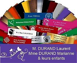 Zelfklevende pvc-brievenbusplaat, personaliseerbaar, 10 x 2,5 cm, 21 kleuren en 39 motieven verkrijgbaar (paars + tekening)