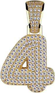 HECHUANG Initial Pendant Number Necklace Cubic Zirconia Iced Out Number Pendant Chain 0-9 Charm Necklace