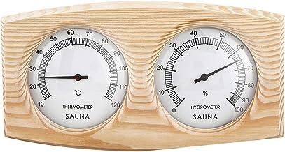 ACAMPTAR Salle de Sauna ThermomèTre Un Bois HygromèTre Un Vapeur ThermomèTre de Salle de Sauna Instrument D'Humidité Humid...