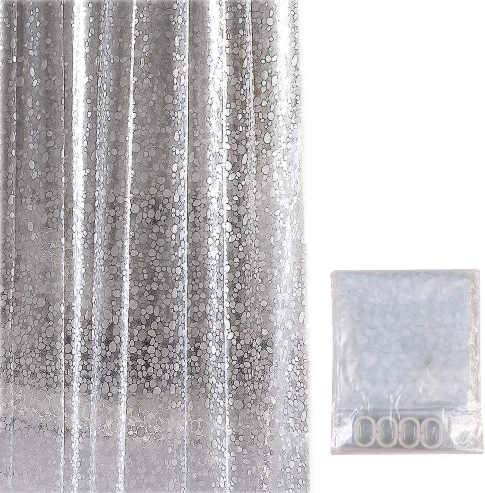 Fangkun Bathroom Shower Curtain Clear Set Shower Curtain Liner - 3D Pebble Pattern EVA Bath Curtains - 12 pcs Shower Hooks - 72 x 72 inches
