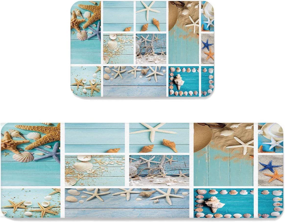 SUN-Shine Coastal Beach Theme Kitchen Rugs 2021 autumn and winter new 2 Mats Max 50% OFF Spl Pieces and