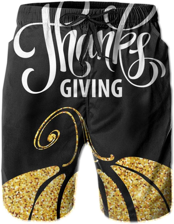 Happy Thanksgiving Day Gold Pumpkin Beachwear Short Men's New Shipping Tulsa Mall Free Summer