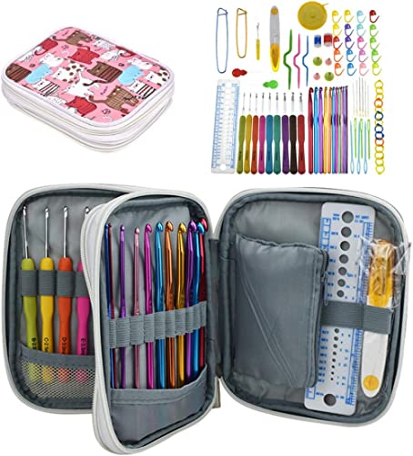 Katech Crochet Hooks Kit with Case, 85-Piece Crochet Hooks Set, Ergonomic Crochet Hooks Knitting Needles Weave Yarn K...