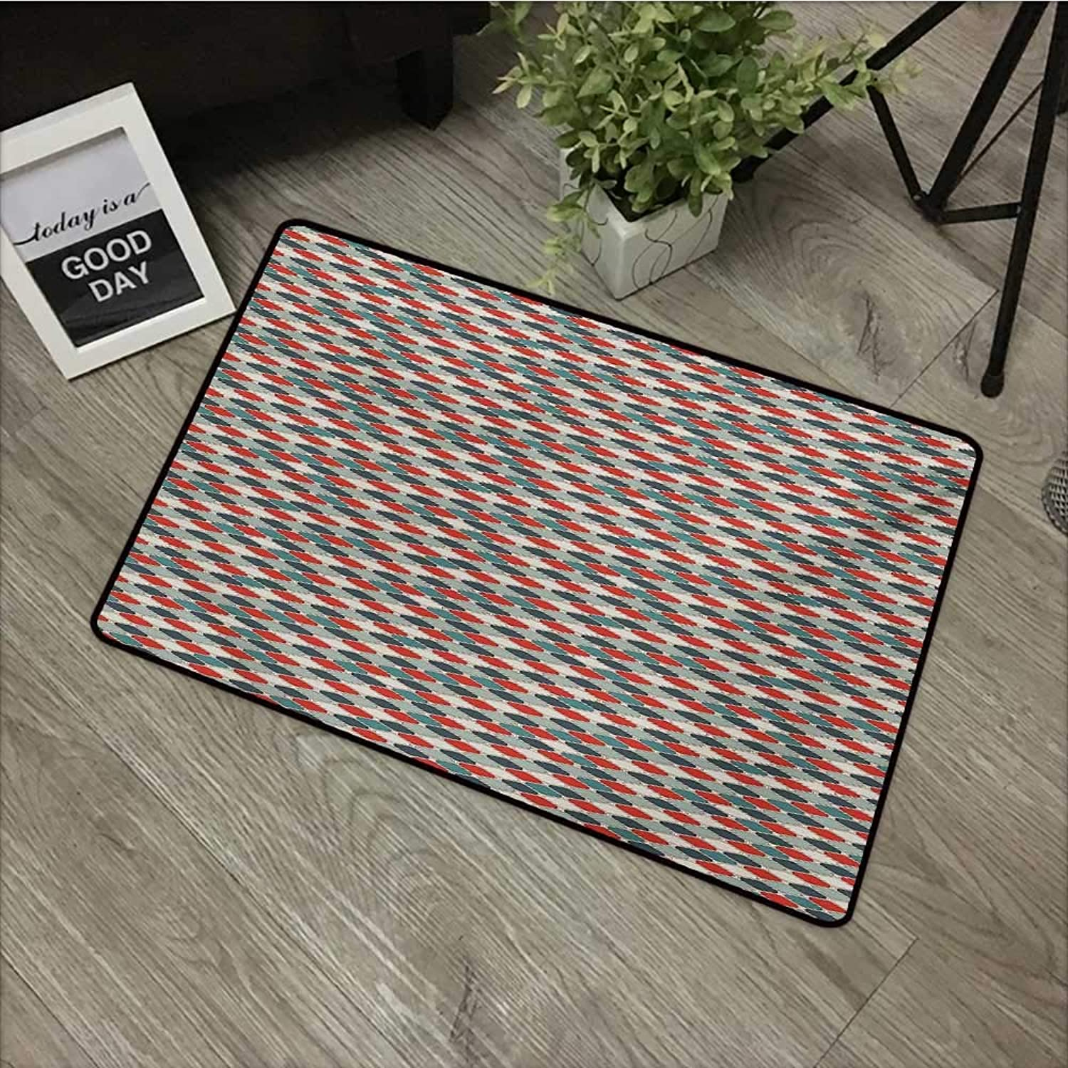 Bathroom Door mat W35 x L47 INCH Retro,Pattern of Mosaic with Geometric Design Old Fashioned Lattice Style Octagon Tile,Multicolor Non-Slip, with Non-Slip Backing,Non-Slip Door Mat Carpet