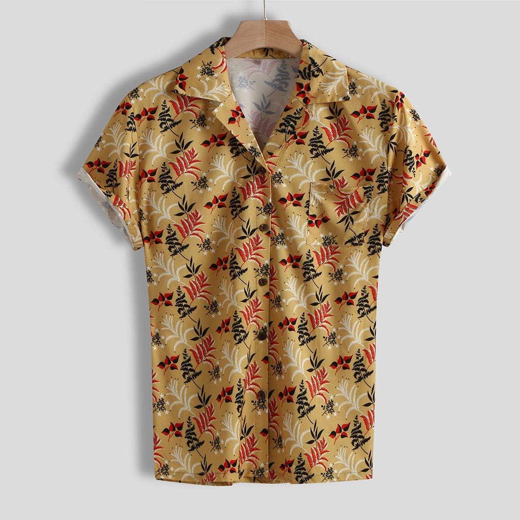 CAOQAO Camisa Hombre Hawaiana Manga Corta Estilo de la Vieja ...