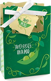 Big Dot of Happiness Double the Fun - Twins Two Peas in a Pod - Baby Shower or First Birthday Party Favor Boxes - Set of 12