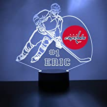 Washington Handmade Acrylic Personalized Capitals Hockey Player LED Night Light - Remote, 16 Color Option, Great Personalized Gift, Engraved