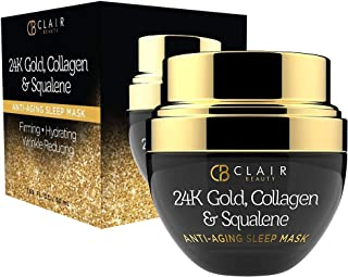 CLAIR BEAUTY 24K Gold, Collagen & Squalene Anti Aging Sleep Mask - Firming, Lifting & Hydrating | Reduces Wrinkles, Fine L...