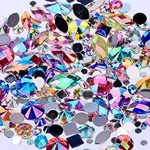 Mix Sizes 300pcs Crystal AB Mix Colors Nail Art Rhinestones DIY Non Hotfix Flatback Acrylic Nail Stones Gems for 3D Nails Art Decorations (Mix Colors)