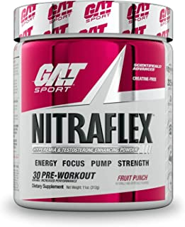 GAT Nitraflex Hyperemia And Testosterone Enhancing PWD, 300 Grams, Fruit Punch Flavor (30 servings)