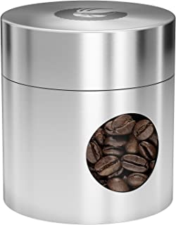 Coffee Gator Mini Travel Canister - Borosilicate Glass & Stainless Steel Container for Beans Grounds & Dry Food - 4oz - Silver
